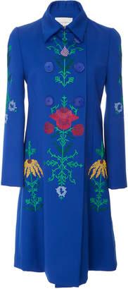 Carolina Herrera Double Breasted Embroidered Coat