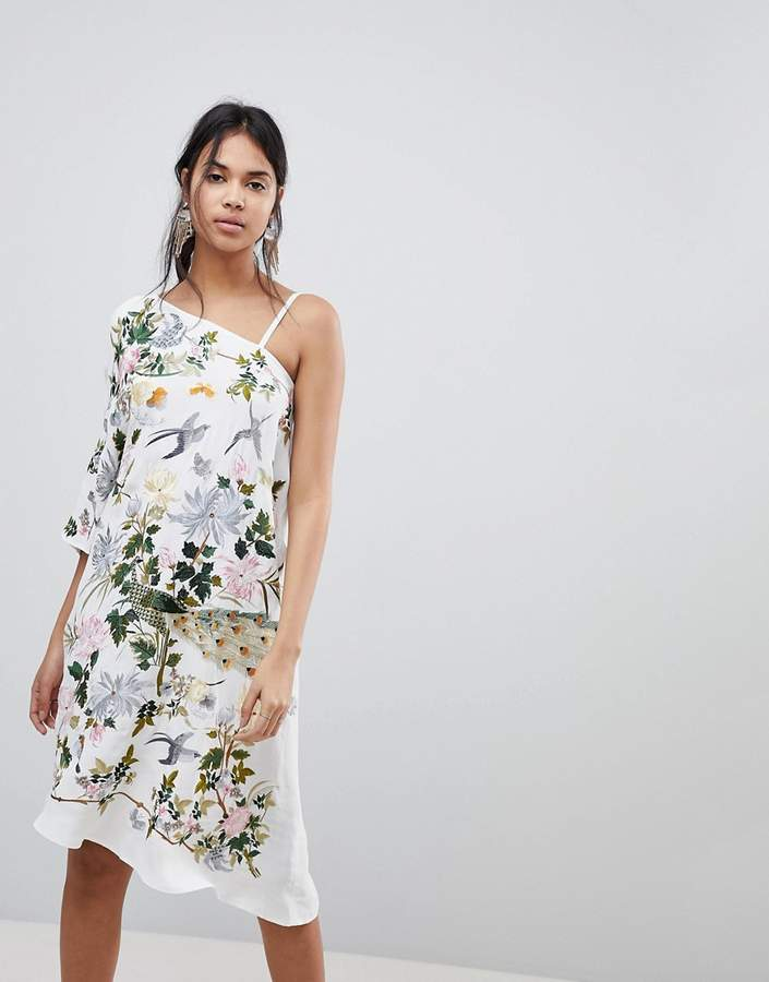 Asos ASOS PREMIUM Asymmetric Embroidered Midi Dress