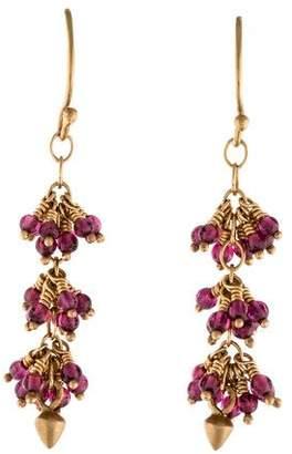 Me & Ro Me&Ro 14K Rhodolite Cluster Lotus Bud Drop Earrings
