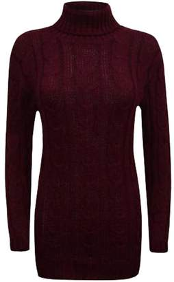 F&F Fashion & Freedom Women Ladies Cowl Polo Roll Turtle Neck Cable Knitted Bodycon Jumper Dress (Medium/Large, )