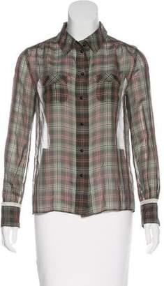 Louis Vuitton Plaid Button-Up Top