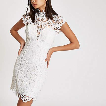 Womens Forever Unique White lace bodycon dress