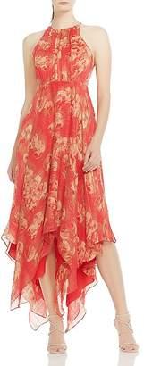 Halston Strappy Handkerchief-Hem Maxi Dress