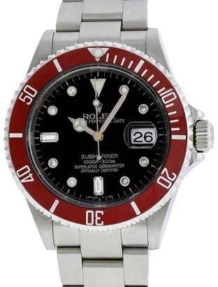 Rolex Red Submariner 16610 Stainless Steel Black Diamond 40mm Mens Watch