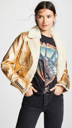 Doma Metallic Leather Jacket