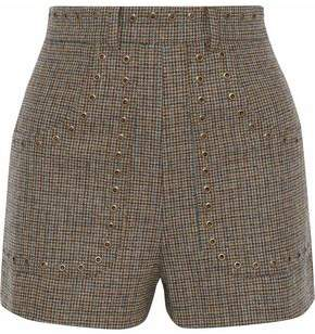 RED Valentino Eyelet-Embellished Houndstooth Wool Shorts