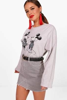 boohoo Petite Disney Minnie & Micky Long Sleeve Top