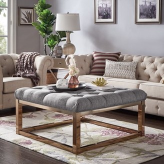 Weston Home Libby Button Tufted Cushion Ottoman Coffee Table with Champagne Gold Straight Base, Multiple Colors