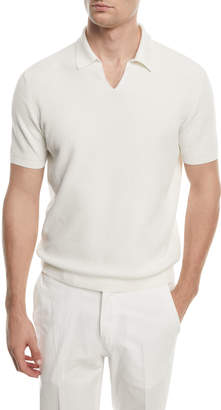 Ermenegildo Zegna Split-Collar Knit Polo Shirt