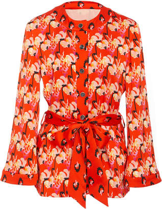 Temperley London Dragonfly Crepe Tie-Front Jacket