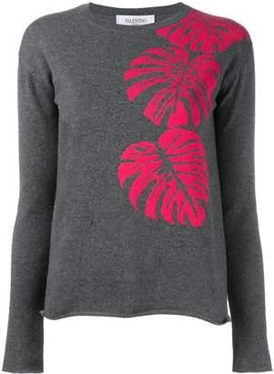 Valentino cashmere palm leaf intarsia jumper