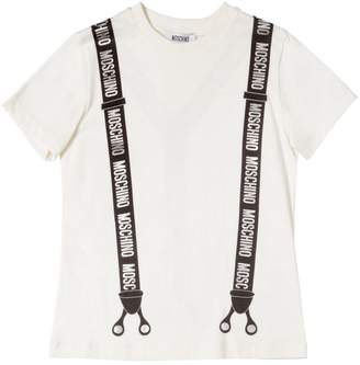 Moschino Suspenders Printed Cotton Jersey T-Shirt