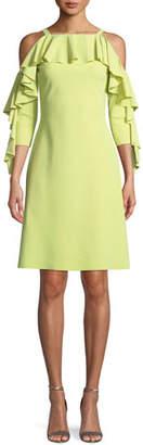 Chiara Boni Marcellina Cold-Shoulder Ruffle Dress