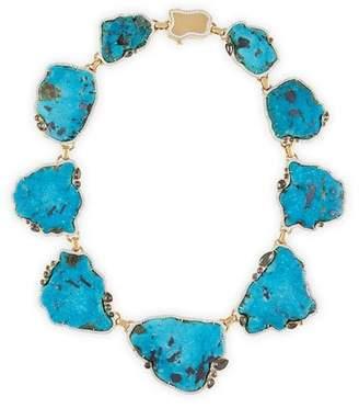 Pamela Huizenga 18k Gold Turquoise Necklace with Diamonds