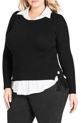 City Chic Plus Long-Sleeve Collared Shirt
