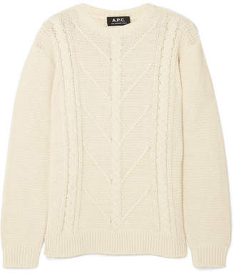 A.P.C. Morbihan Cable-knit Cotton-blend Sweater - Cream