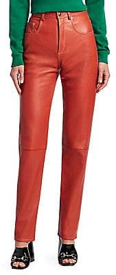 Gucci Women's Soft Leather High-Waisted Pants