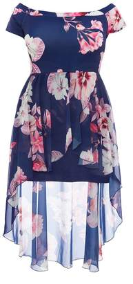 Quiz Curve Navy & Pink Floral Bardot Dip Hem Dress