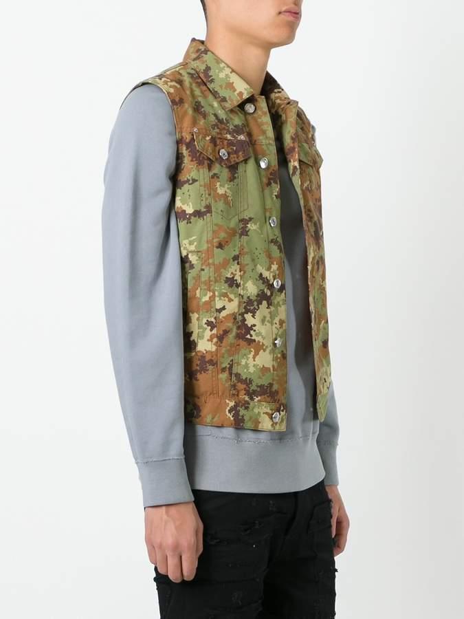 DSQUARED2 camouflage denim-style vest