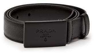Prada - Rectangular Buckle Leather Trimmed Canvas Belt - Mens - Black