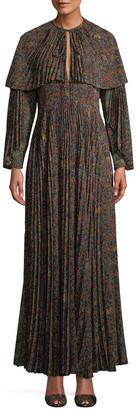 Etro Pleated Cape Maxi Dress