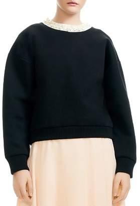 Maje Tenor Embellished Oversize Sweatshirt