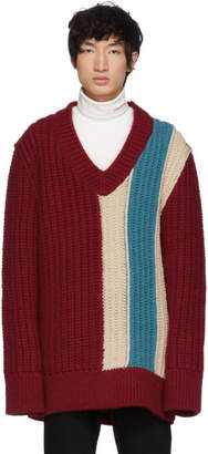 Calvin Klein Burgundy Striped V-Neck Sweater
