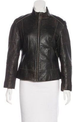 Andrew Marc Leather Stand Collar Jacket $195 thestylecure.com