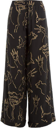 Valentino Printed Silk Wide Leg Pants