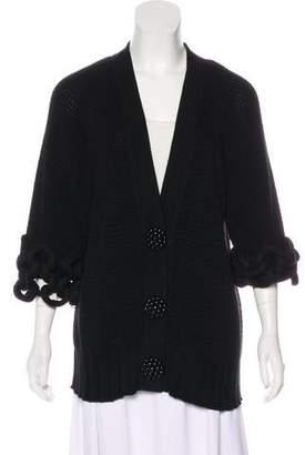 Fendi Rib Knit Three-Quarter Cardigan