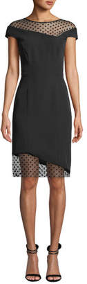 Milly Lillian Italian Cady Sheath Dress with Sheer Point d'Esprit Insets