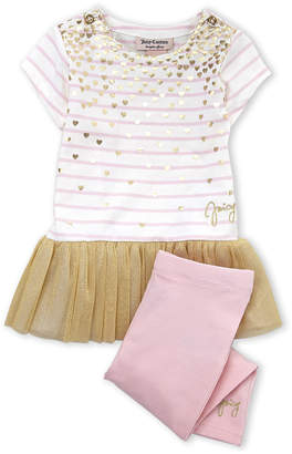 Juicy Couture Toddler Girls) Two-Piece Heart Print Tutu Tunic & Leggings Set