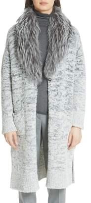 Fabiana Filippi Long Degrade Cardigan with Removable Genuine Fox Fur Collar