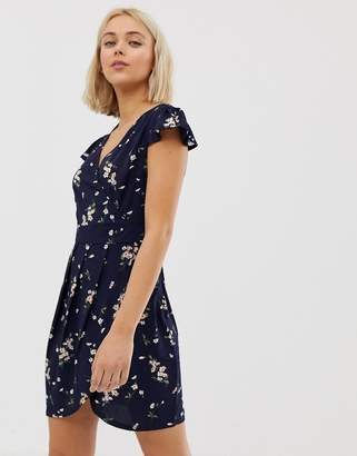 Qed London QED London wrap front tulip dress in floral print