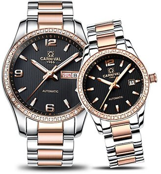 Carnival カーニバルCouple Watches Men And Women自動機械腕時計シックドレスfor HerまたはHisのセット2 Rose Gold Black