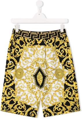 Versace TEEN baroque print shorts