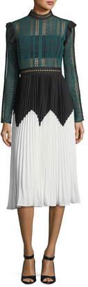Self-Portrait Stripe Paneled Long-Sleeve Lace Midi Dress