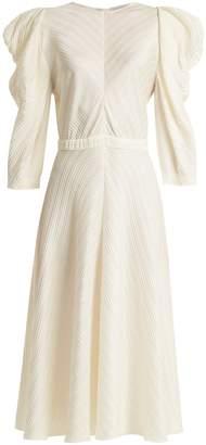 Vika Gazinskaya Puff-sleeved silk midi dress