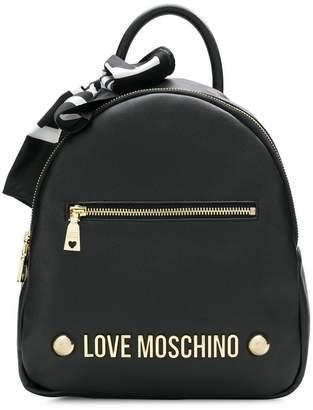 Love Moschino logo scarf backpack