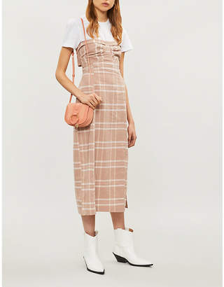 Free People Life Like This strapless checked linen and cotton-blend midi dress