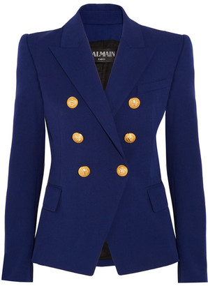 Balmain - Double-breasted Stretch Cotton-blend Blazer - Blue $2,325 thestylecure.com