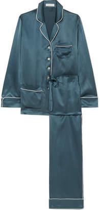 Olivia von Halle - Coco Silk-satin Pajama Set - Petrol