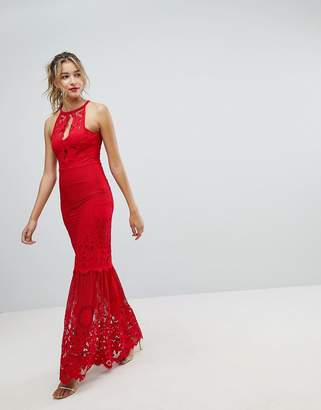 Lipsy Lace Fishtail Maxi Dress