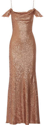 Rachel Zoe Cecilia Cold-shoulder Sequined Stretch-cady Gown