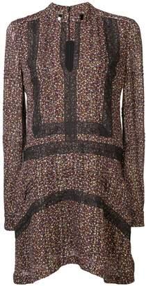 Derek Lam 10 Crosby Lace-Trimmed Floral Print Lurex Chiffon Shift Dress