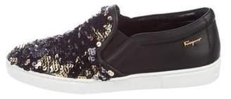Salvatore Ferragamo Sequined Slip-On Sneakers