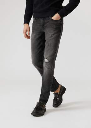 Emporio Armani J06 Sand-Washed Jeans With Decorative Tears And Rips