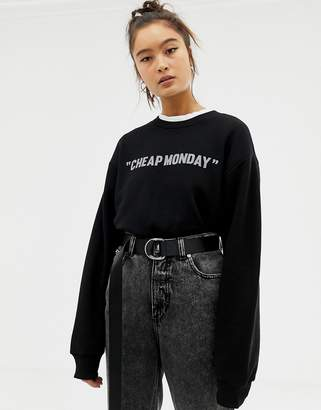 Cheap Monday reflective logo sweatshirt with organic cotton