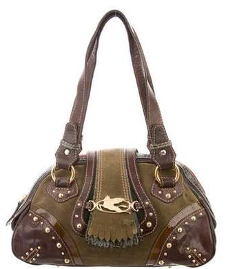 Etro Embossed Leather-Accented Suede Shoulder Bag