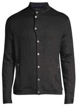 John Varvatos Linen-Blend Snap Front Jacket